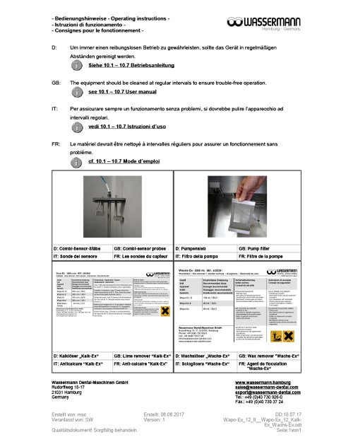 Wassermann Wapo 12 II Cleaning Instructions